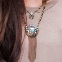 Necklace - 2 Layer Boho Statement Piece - Silver & Turquoise