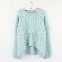 Sweet Round Neck Long-sleeved Knit Sweater