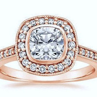 1.86ct G-VS2 Cushion Diamond Engagement Ring 18kt Pink Gold Halo JEWELFORME BLUE