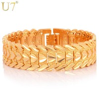 U7 Gold Color Heart Bracelet Jewelry Wristband 17MM 20CM Chunky Big Chain Bracelets Bangles For Men Fathers Day Gifts H684