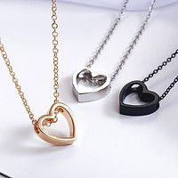 Simple Love Heart Pendant Necklace Women'S Fashion Elegant Chorker Golden Silver Black Color Necklace Jewelry