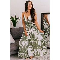 Cancun Is Calling Palm Printed Maxi Dress (Green)