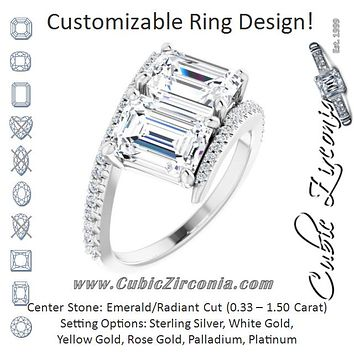 Cubic Zirconia Engagement Ring- The Nellie (Customizable Double Radiant Cut 2-stone Design with Ultra-thin Bypass Band and Pavé Enhancement)