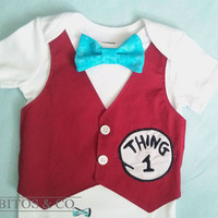 Dr Seuss Boy Bodysuit - Thing One Vest Bodysuit - Boy  First Birthday Outfit - Boy Smash Cake Outfit, Cat in a Hat Bodysuit
