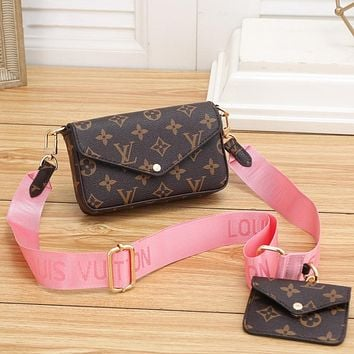 LV Louis Vuitton Classic Letter Printing Two-piece Cosmetic Bag Shoulder Bag Messenger Bag Small Wallet Pink
