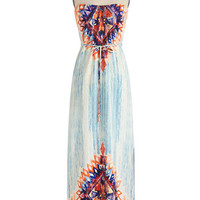 ModCloth Festival Long Strapless Maxi Bold in Brushstrokes Dress