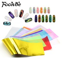 10/20 Sheets/Set 3D Holographic Broken Glass Foils Finger Nail Art Mirror Stickers for Nails Glitter Stencil Decal DIY Manicure