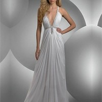 Deep-v-neck Column White With Sequins Prom Dress PD0508
