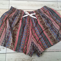 Boho Aztec Ethnic Ikat Pattern Print Beach Shorts For Summer Tribal Clothing Bohemian Comfy Cute Women Clothes Unique Red Blue colorful Gift