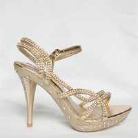 Double Rhinestone Strappy Heel- Gold from Evening & Club at Lucky 21 Lucky 21