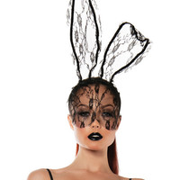 Roleplay Lace Bunny Mask Black O-s