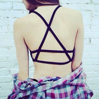 Women Sexy Padded Bra Top Bralette Bralet Caged Back Strappy Fashion Women