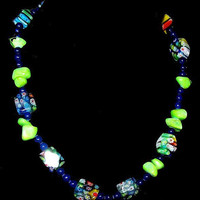 "Millefiori Glass Bead Necklace Blue Green Yellow Color Toggle Clasp 20"" Vintage"