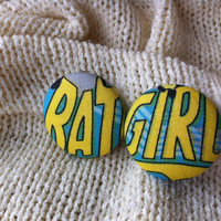Batgirl Earrings, Covered Button Earrings, Stud Earrings made with Licensed Batgirl Fabric, Cosplay Jewelry