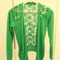 Elegant & Modern Lace Spliced Long Sleeve Pure Color Knitting Cardigan----Green