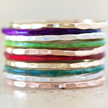 Stacking Rings / Stacking Skinny Rings / Colorful / Moroccan Glow / Silver Gold Rose Purple Green Red Blue
