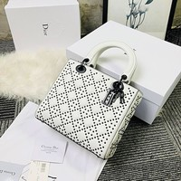 Dior Women Shopping Leather Crossbody Satchel Shoulder Bag White