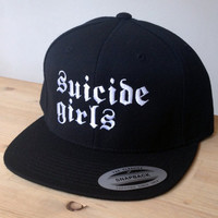 Suicide Girls Snapback Cap with Custom Embroidered Logo.  Made to order quality snap back hats and designs