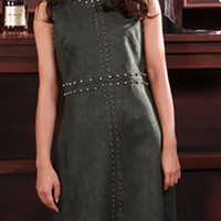 Military Green Sleeveless Shift Mini Dress with Beads