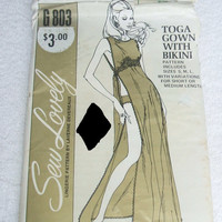 Sew Lovely Sewing Pattern G803 Toga Gown with Bikini Sexy Lingerie Pattern by Laverne Devereaux Sleepwear Nightgown