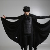 Stylish Men's Punk Gothic Cardigan Fashion Black Causal Coats 134892