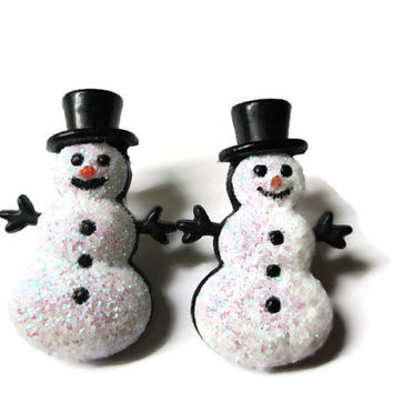 Christmas Snowman Earrings, Winter Jewelry, Glitter Coating, Gold Toned Nickel Free Brass Posts