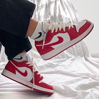 NIKE Air Jordan1 Low top white red sneaker