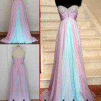 Pleated long prom/Evening/Party/Homecoming/cocktail /Bridesmaid/Formal Dress