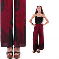 Accordion Pleated High Waist Wide Leg Pants Magenta Palazzo Boho Chic Floral Trousers 80s 90s Vintage Clothing Womens Size XS Small