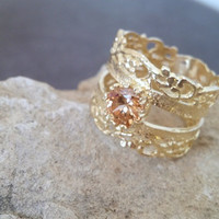 SALE! Citrine ring,Champagne stone ring,bridesmaids jewelry, gold ring,wide band,wedding ring,vintage ring, delicate jewelry