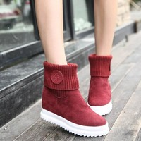2018 HOT Sale Euro35-39 Brief Slip-on Flock Anti-Slip Snow Boots Women Winter Boots Female Snow Shoes hjm89