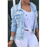 Chicnico Casual Front Hollow Denim Jacket Top