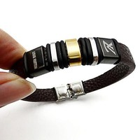 LV Louis Vuitton Trending Unisex Casual Stainless Steel Leather Bracelet With Leather Bracelet Laser Engraving Bracelet