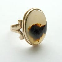Amazing Vintage Picture Agate Ring 1940s 10K