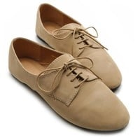 Ollio Women's Ballet?Flat Shoe Faux Suede Lace Up Oxford(8.5 B(M) US, Taupe)