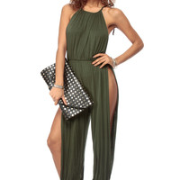 Olive Spaghetti Strap Cut Out Harem Jumpsuit