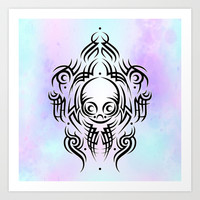 Alien Tribal Tattoo Art Print by Chobopop