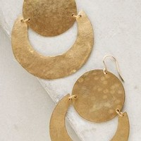 Brushed Moonrise Hoops by Anthropologie in Gold Size: One Size Earrings