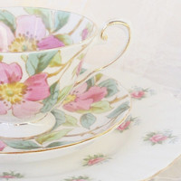 Vintage Royal Tuscan Fine China Teacup, Saucer and Mismatched Plate Trio, Tea Party, Royal Albert, English Cottage, Cottage Style