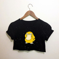 Psyduck Pokemon Black Crop Top T Shirt Festival Hippie Emo Hipster Kawaii