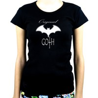 Original Goth with Bat Women's Babydoll Shirt Top Gothic Clothing