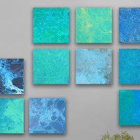 Handmade abstract Painting,  10 square ORIGINAL abstract artwork, abstract wall art,- Green, blue, turquoise, Sky blue, white, gray,