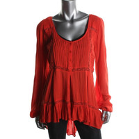 Free People Womens Willow Crinkled Lace Trim Pullover Top