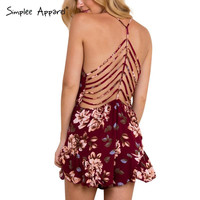 Simplee Apparel new summer sexy deep v neck print women jumpsuit romper Strap beach girls macacao Hollow out backless playsuits