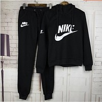 "NIKE Women Fashion ""NIKE"" Print Hoodie Top Sweater Pants Sweatpants Set Two-Piece Sportswear BLACK F"