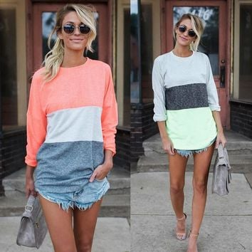 Women's Fashion Stylish Long Sleeve Patchwork T-shirts [498265784366]