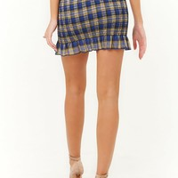 Plaid Smocked Mini Skirt