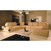 Homely Comfort Leather Sectional Sofa Set