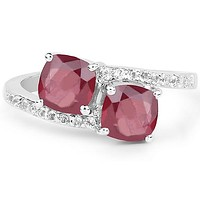 4.5TCW Cushion Cut Red Ruby White Topaz Engagement Ring