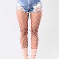 Madelyne Diamond Fishnets Tights - White